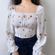 Retro square collar full body elastic floral long sleeve shirt - T-shirts - $26.99