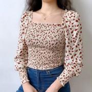 Retro square collar safflower full body elastic long-sleeved shirt - T-shirt - $27.99  ~ 24.04€