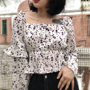 Retro square neck puff sleeve small flor - Shirts - $27.99