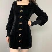 Retro square neck velvet black dress lan - Dresses - $35.99