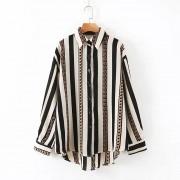 Retro vertical stripes hot stamping loos - Hemden - kurz - $27.99  ~ 24.04€