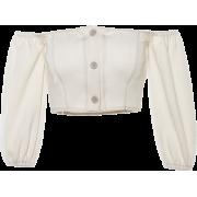 Retro word shoulder bubble long sleeve o - Long sleeves shirts - $24.99