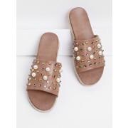 Rhinestone & Faux Pearl Design Flatform Sandals - Sandals - $35.00