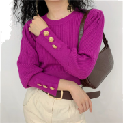 Ribbed Knitwear Women's Turtleneck Long - 套头衫 - $28.99  ~ ¥194.24