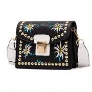 Rivet Crossbody Bags for Women Flower Embroidery Style Shoulder Bag Cross Body Purse - Hand bag - $13.99