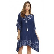 Riviera Sun Embroidered Caftan Dress for Women with Cinched Waist - Dresses - $16.49