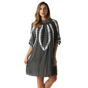 Riviera Sun Embroidered Casual Dress With Smocking Top - Dresses - $9.99
