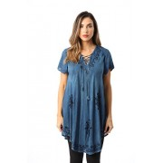 Riviera Sun Lace-up Casual Tunic Top with Embroidery - Shirts - $14.99