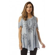 Riviera Sun Loose Cold Shoulder Lace up Embroidered Tunic Top Blouse Shirt - Shirts - $14.99