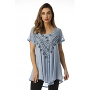 Riviera Sun Loose Fit Mesh Sleeve Embroidered Tunic Top Blouse Shirt - Camisa - curtas - $19.99  ~ 17.17€
