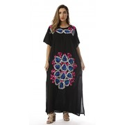 Riviera Sun Mexican Embroidered Maxi Dress with Double Side Slits - Vestidos - $19.99  ~ 17.17€