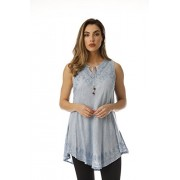 Riviera Sun Sleeveless Keyhole Neck Embroidered Tunic Top Blouse Shirt - Camisa - curtas - $19.99  ~ 17.17€