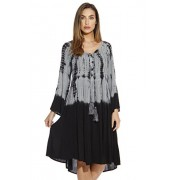 Riviera Sun Tie and Dye Embroidered Caftan Cover Up Dress - Dresses - $14.99