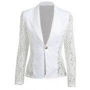 Romacci Autumn Women Blazer Jacket Lace Splicing Long Sleeves Slim Suit One Button Casual Coat Work Wear, Black/White - Suits - $10.71