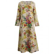 Romacci Vintage Women Maxi Floral Dress Long Sleeves Pockets O Neck Plus Size Cotton Linen Loose Robe Dress - Dresses - $14.46