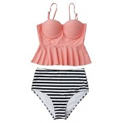 Romacci Women Two Pieces Swimsuit Striped High Waist Peplum Tankini Set Bathing Suit - Swimsuit - $19.99