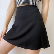 Roman Cloth Covering Belly Thinly Black Skirt Women Xia Gao Waist A-line Skirt - Suknje - $27.99  ~ 177,81kn