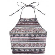 Romwe Women's Bohemian Print Sleeveless Vest Halter Cami Tank Top Crop Tee - Top - $8.99