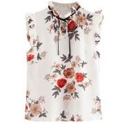 Romwe Women's Casual Ruffle Trim Cap Sleeve Bow Tie Blouse Top Shirts - Shirts - $15.29