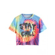 Romwe Women's Colorful Tie Dye Ombre Round Neck Tee Shirt Top - T-shirts - $23.99