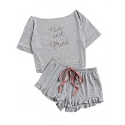 Romwe Women's Cute Boat Neck Crop Top and Frill Hem Shorts Pajama Set - Top - $13.99