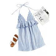 Romwe Women's Cute Casual Halter Neck Sleeveless Striped Frill Trim Backless Short Dress - Dresses - $26.99