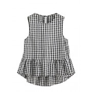 Romwe Women's Cute Sleeveless Keyhole Back Ruffle Hem Peplum Blouse Top - Top - $12.99