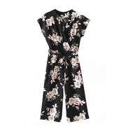 Romwe Women's Floral V Neck Jumpsuit with Self Tie Mid Waist Cap Batwing Sleeve Romper - Pants - $25.99