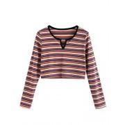 Romwe Women's Long Sleeve Bohemian Colorblock Striped Print Crop Tee Shirt Top - Shirts - $12.99