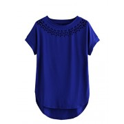 Romwe Women's Scalloped Hem Curved Stretchy Short Sleeve Blouse T-Shirt Top - T-shirts - $14.99