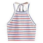 Romwe Women's Striped Halter Self Tie Crop Top Vest Cami - Top - $11.99