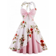 Rosegal Vintage Floral Dress - Belt -