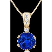 Round Blue Sapphire Pendant - Necklaces - $4,509.00  ~ £3,426.89