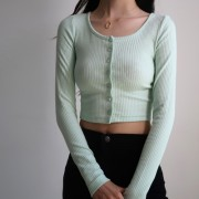 Round neck single-breasted cardigan retr - My look - $25.99