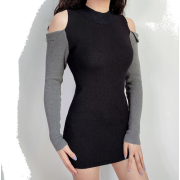 Round neck splicing off-shoulder sleeves - Dresses - $25.99