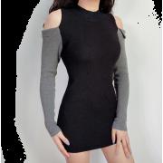 Round neck splicing off-shoulder sleeves - Kleider - $25.99  ~ 22.32€