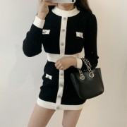 Round-neck vintage color-block button hi - Платья - $39.99  ~ 34.35€
