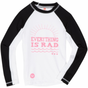 Roxy Kids Girls 2-6x Teenie Wahine Rocker Long Sleeve Rash Guard Shirt White/Black - Long sleeves shirts - $24.66