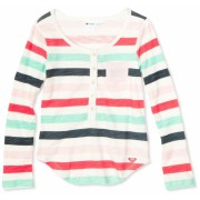 Roxy Kids Girls 7-16 Escapade Long Sleeve Top Natural Multi-stripe - Top - $25.89