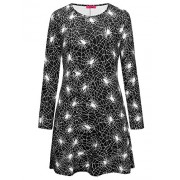Ruiyige Womens Long Sleeves Spider Net Print Halloween Dress Flared Swing Dress Black Mini Dress - Dresses - $10.99  ~ £8.35