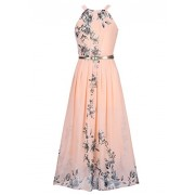 Ruiyige Women's Sleeveless Halter Neck Vintage Floral Print Maxi Dress - Dresses - $16.39  ~ £12.46