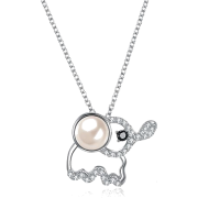 S925 Silver Cute Baby Elephant Crystal Pendant Necklace - 项链 -