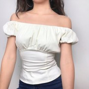 SALE:One word collar puff sleeve waist t - Shirts - $25.99
