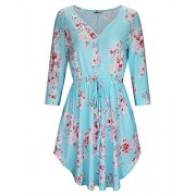 STYLEWORD Women's Casual V Neck Floral Print Beach Summer Dress - Dresses - $35.99