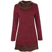 STYLEWORD Women's Long Sleeve Drape Scarf Neck Patchwork Casual Tunic Sweater Shirts - Shirts - $38.99