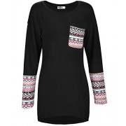 STYLEWORD Women's Long Sleeve Round Neck Patchwork Casual Loose T-Shirts Blouse Tops - Shirts - $35.99