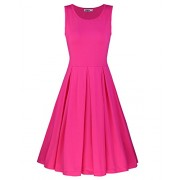 STYLEWORD Women's Sleeveless Casual Cotton Flare Dress - Dresses - $35.99