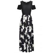 STYLEWORD Women's Summer Cold Shoulder Floral Print Elegant Maxi Long Dress with Pocket - Dresses - $45.99