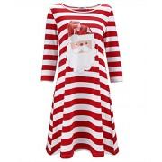 STYLEWORD Women's Three Quarter Sleeve Christmas Dress Stripe Elk Casual Dress - Dresses - $32.99