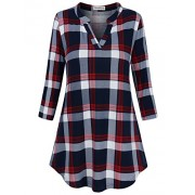 SUNGLORY Women's Casual 3/4 Sleeve V-Neck Plaid Shirts Pullover Top - Camisa - curtas - $29.99  ~ 25.76€